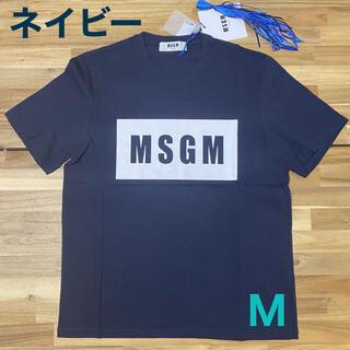 MSGM - 新品 MSGM エムエスジーエム ロゴTシャツ ネイビー メンズ 紺色 半袖 M