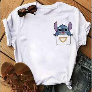 ポケット スティッチ ディズニー レディース Tシャツ 白 XL(Tシャツ(半袖/袖なし))