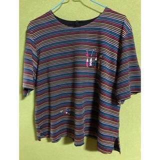 ストライプワンポイントTシャツ(Tシャツ(半袖/袖なし))