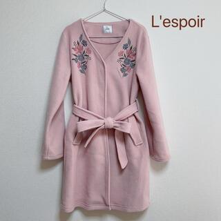 シマムラ(しまむら)のL'espoir レスポワール しまむら 花刺繍 ピンク ノーカラーコート(スプリングコート)