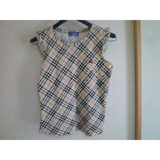 バーバリーブルーレーベル(BURBERRY BLUE LABEL)のバーバリーブルーレーベル 定番チェック フリル袖 Tシャツ 38 ※難有(Tシャツ(半袖/袖なし))