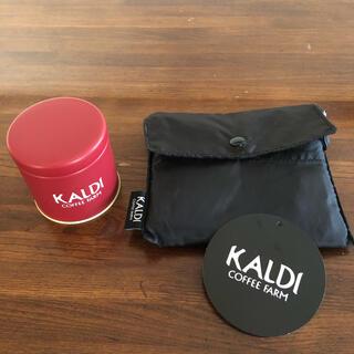 カルディ(KALDI)のカルディ ミニキャニスター缶 エコバッグ黒(容器)