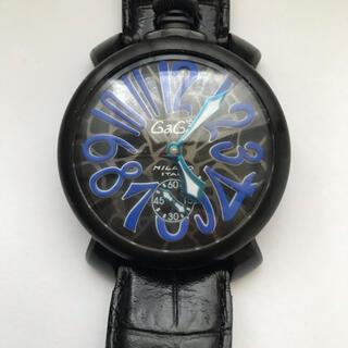 GaGa MILANO - ガガミラノ マヌアーレ48MM手巻き時計 モザイク ブラック/ブルー正規品 美品