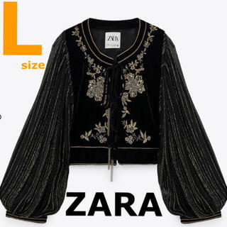 ZARA - 【ZARA】ザラ L エンブロイダリーベルベットジャケット 刺繍ジャケット