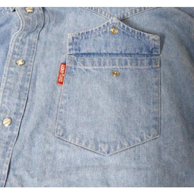 SPINNS(スピンズ)のM-11☆ SPINNS/男女兼用/古着/長袖デニムシャツ/サイズXL/スピンズ レディースのトップス(シャツ/ブラウス(長袖/七分))の商品写真