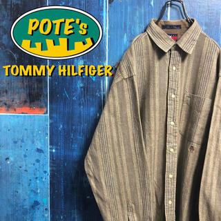 TOMMY HILFIGER - 【トミーヒルフィガー】オールド刺繍ロゴ・ロゴタグレトロストライプシャツ 90s