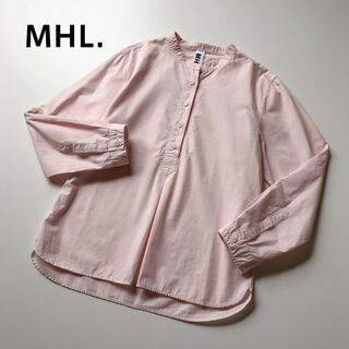 MARGARET HOWELL - MHL. バンドカラー プルオーバー シャツ コットン ノーカラー ライトピンク