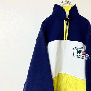 ハーフジップ トレーナー スウェット 90年代 マルチカラー 日本製 美品(スウェット)
