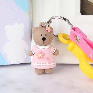 ベアキーホルダー♡ベアリスタ♡サマーピンクさくらワンピース♡スタバ♡熊