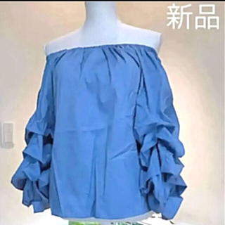 ZARA - ボリューム袖トップス☆綺麗なブルー♡新品♪╰(*´︶`*)╯♡