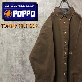 TOMMY HILFIGER - トミーヒルフィガー☆オールド刺繍ロゴチノボタンダウンシャツ 90s