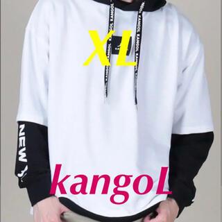 カンゴール(KANGOL)の春にふさわしい‼️BIG カンゴール 超オシャレ春シルエット白黒パーカー XL(パーカー)