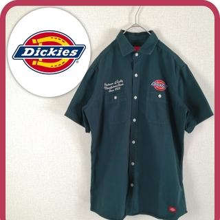 Dickies - 古着 ディッキーズ 半袖シャツ ワークシャツ 厚手 刺繡ロゴ オーバーサイズ L