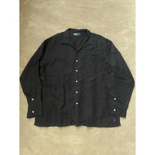 POLO RALPH LAUREN - 90's ラルフローレン ブラックリネン オープンカラーシャツ ビッグシャツ