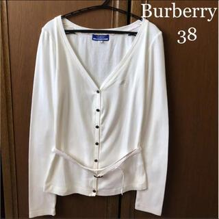 BURBERRY - バーバリー 長袖 カーディガン ベルト付き 38 白 チェック セリーヌ グッチ