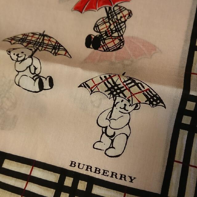 BURBERRY(バーバリー)の値下げ  新品 バーバリーハンカチ くま ピンク レディースのファッション小物(ハンカチ)の商品写真