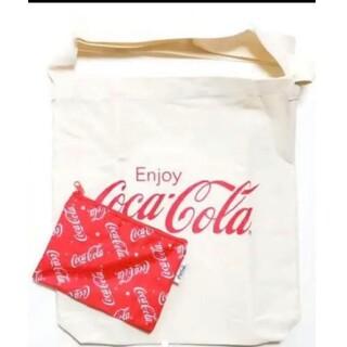 コカコーラ(コカ・コーラ)の2点セット♥️コカ・コーラ☆斜めがけロゴトートバッグ&総柄ポーチ♥️未使用(トートバッグ)