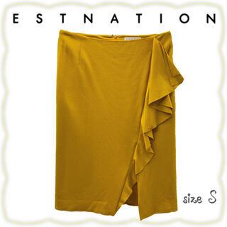 エストネーション(ESTNATION)のESTNATION スリット入ストレッチフリルタイトスカート S(ひざ丈スカート)