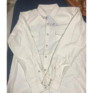 GU - GU MEN デニムウェスタンシャツ  長袖シャツ ホワイト シャツ