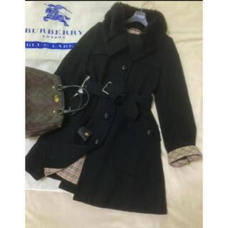 バーバリーブルーレーベル(BURBERRY BLUE LABEL)の美品 バーバリー ブルーレーベル コート ブラック 黒(ロングコート)