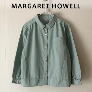 MARGARET HOWELL - MARGARET HOWELL ギャザー ボックスシャツ ライムグリーン