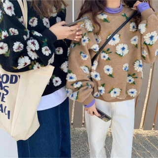 dholic - 韓国ファッション フラワーボアプルオーバー