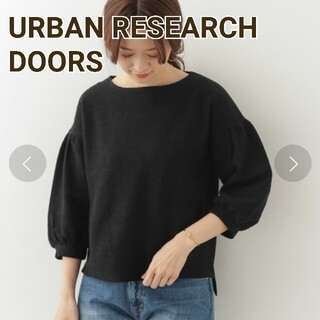 DOORS / URBAN RESEARCH - アーバンリサーチ ドアーズ シルククレープカットソー 黒 ブラック