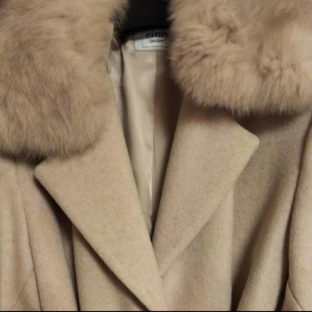 eimy istoire(エイミーイストワール)のeimyistoire フォックスファーウールコート レディースのジャケット/アウター(ロングコート)の商品写真