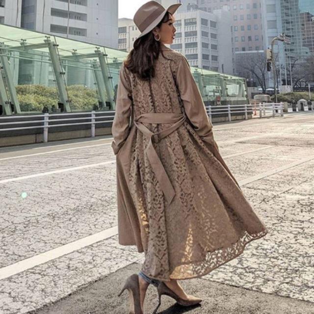 rienda(リエンダ)のリエンダ 新品 Big collar back lace trench CT レディースのジャケット/アウター(トレンチコート)の商品写真