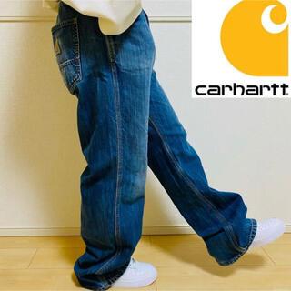 carhartt - 【希少】カーハート ワークデニムパンツ 織りタグ 色落ちブルー ゆるだぼ