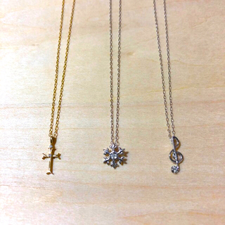 K10ゴールドダイヤネックレス3本セットホワイトイエローGOLD Diamond