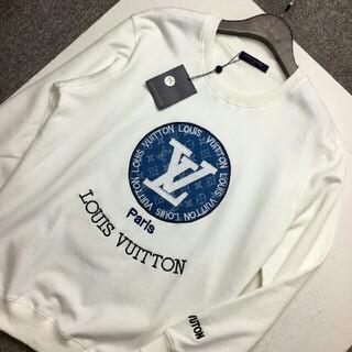 LOUIS VUITTON - 新しいデニムパッチ刺繡ロゴラウンドネック長袖Tシャツ   トレーナー