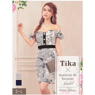 Tika 新品 オフショルダー 花柄 ミニドレス キャバドレス(ミニドレス)