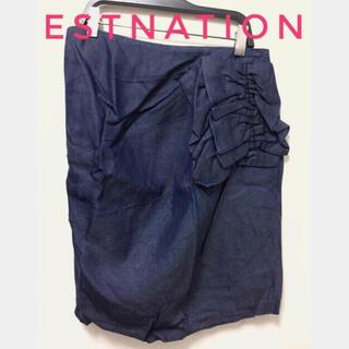 エストネーション(ESTNATION)のエストネーション【美品】変形 フリル デザイン タイト スカート(ミニスカート)