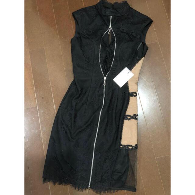 片サイドチュール切替×ジップタイトミニドレス レディースのフォーマル/ドレス(ナイトドレス)の商品写真