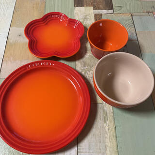 ルクルーゼ(LE CREUSET)のルクルーゼ 4点セット オレンジ(食器)