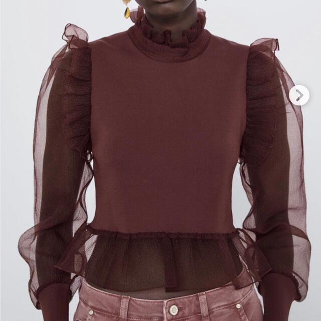 ZARA(ザラ)の試着のみ★ZARA ザラ コントラストオーガンザニットセーター レディースのトップス(ニット/セーター)の商品写真