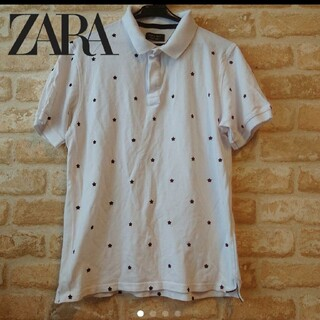 ザラ(ZARA)の★ZARA MAN★ザラ★中古★星総柄 半袖 ポロシャツ★ホワイト 白★L(ポロシャツ)