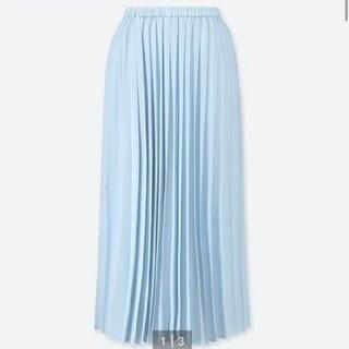 UNIQLO - UNIQLO ロング プリーツスカート 丈標準 水色