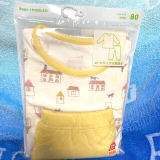 UNIQLO - ラスト1点☆ユニクロ☆80 パジャマ 長袖 コットン100% ダブルフェイス素材