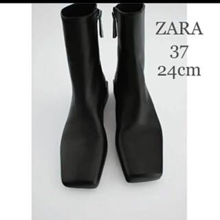 ZARA - 【新品・未使用】ZARA スクエアトゥ  レザー フラット アンクル  ブーツ