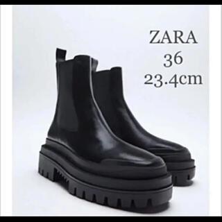 ZARA - 【新品・未使用】ZARA トラックソール  リアルレザー アンクル ブーツ