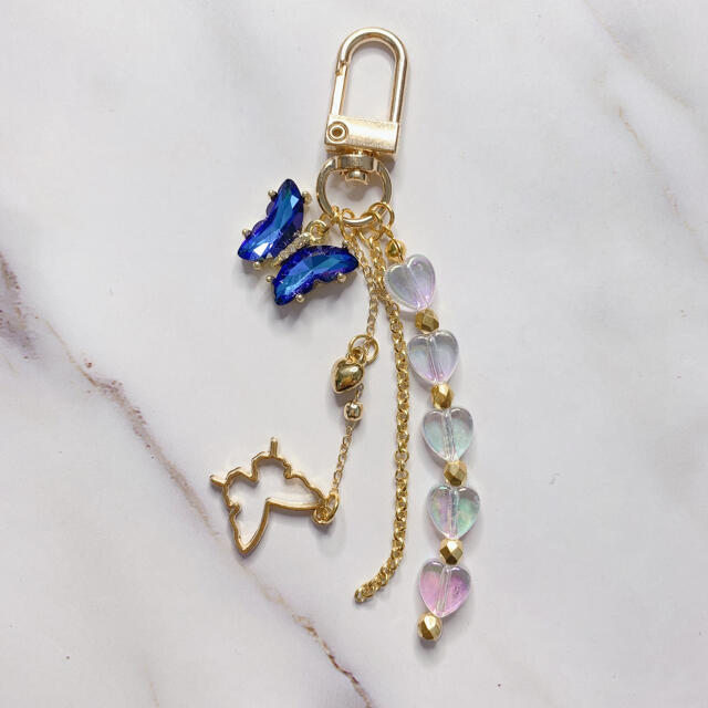 goldbutterflykey ring blue レディースのファッション小物(キーホルダー)の商品写真