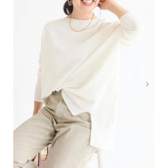 IENA(イエナ)の試着のみ IENA  コットンストレッチワイド長袖プルオーバー レディースのトップス(ニット/セーター)の商品写真