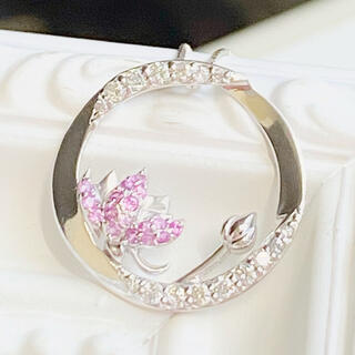蓮の花 K18WG ロータス ピンクサファイヤ ダイヤ ネックレス K18