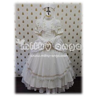 ミルキーアンジェ メイド服 ホワイト 白 シスター コスプレ クロス ロリータ(衣装一式)