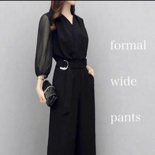 素敵☆レディースフォーマルオールインワンパンツドレス☆シフォンパンツスーツ黒
