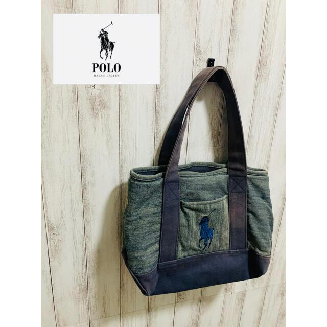 POLO RALPH LAUREN(ポロラルフローレン)のポロラルフローレン コットンキャンバストートバッグ ハンドバッグ ポニー デニム レディースのバッグ(トートバッグ)の商品写真