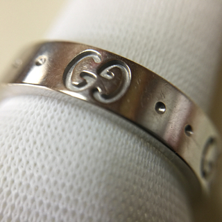 Gucci - GUCCI グッチ アイコンリング 指輪 #9 K18WG 3.6g程 Gロゴ