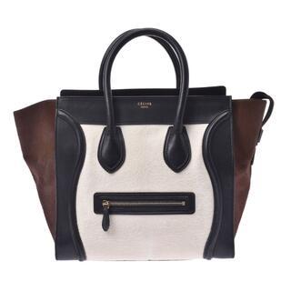 celine - セリーヌ  ラゲージ ミニショッパー  ハンドバッグ 白×黒×茶